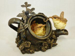 Wrens in Teapot Large Bowbrook Studios