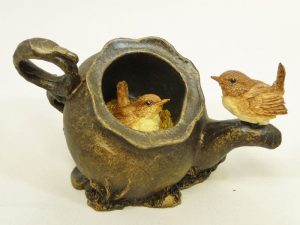 Wrens in Teapot - Small by Bowbrook Studios