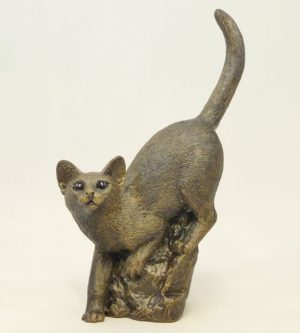 Patina Cat Climbing Down by Bowbrook Studios