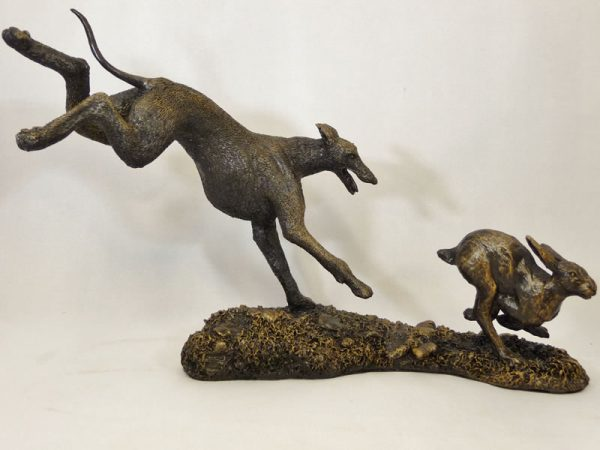 Lurcher Chasing a Hare by Bowbrook Studios